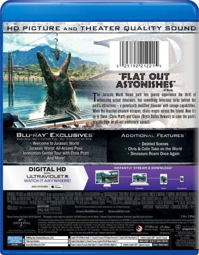Jurassic World Blu-ray Back Cover