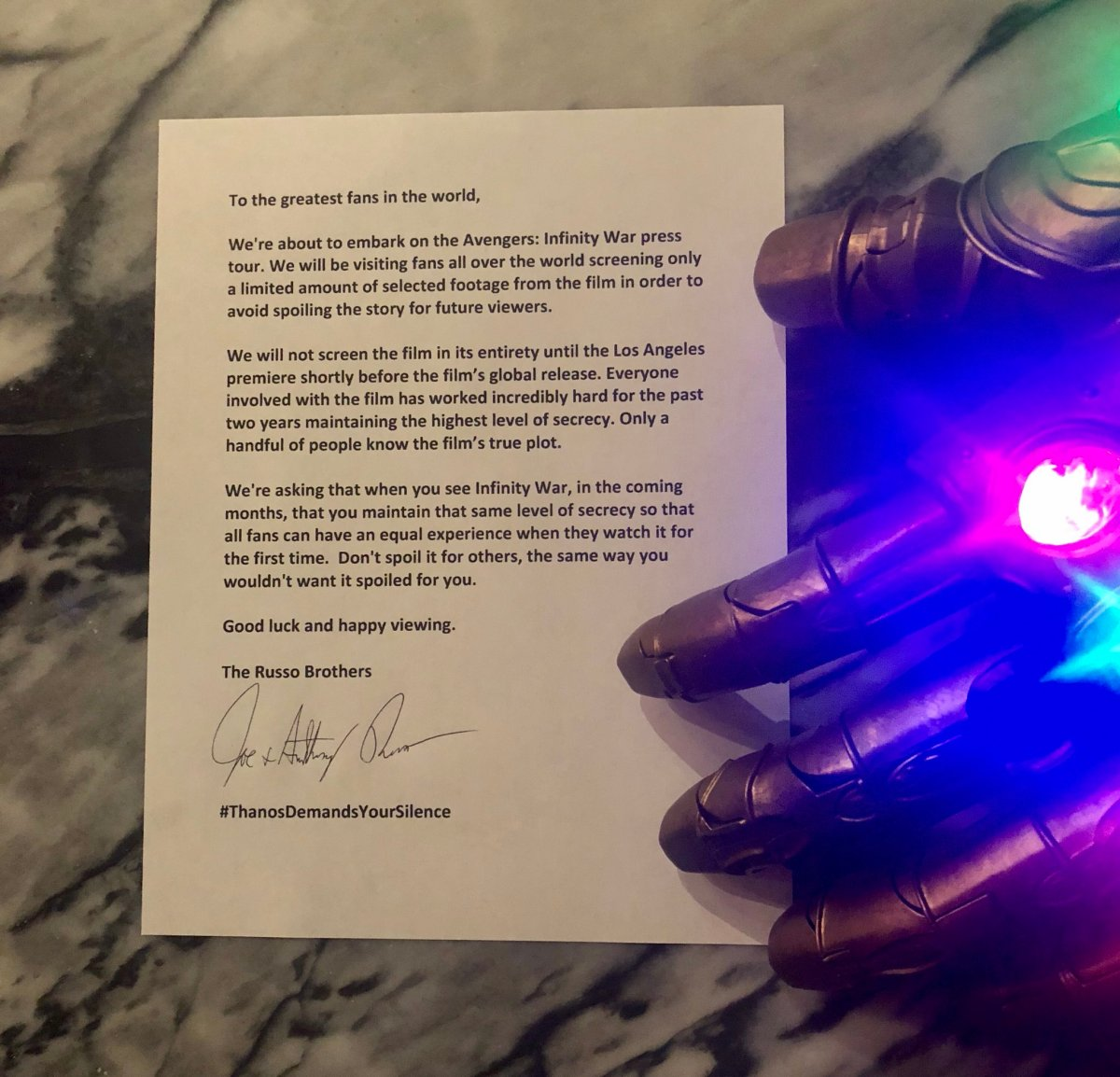 Russo Brothers Avengers Infinity War Open Letter